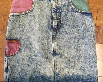 Acid Wash pencil Skirt 80's Vintage denim