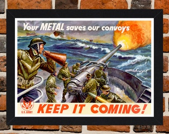 Framed Second World War U.S Navy Propaganda Poster A3 Size Mounted In Black Or White Frame
