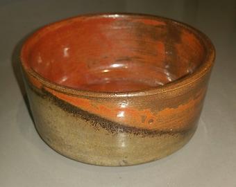 Teabowl in orange brown and dark brown