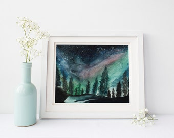 WATERCOLOR PRINT, Northern Lights, Aurora Borealis