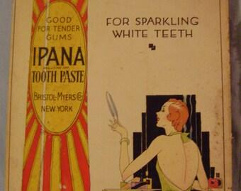 Vintage Cardboard Ipana Toothpaste Sign