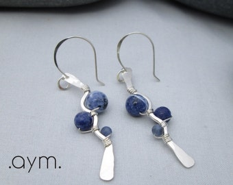 sodalite earrings, natural blue stone, sterling silver, artisan earrings, hand crafted, denim blue earrings, gift for her, mom, sister, wife