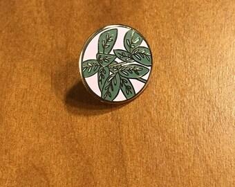 Leafy Enamel Lapel Pin