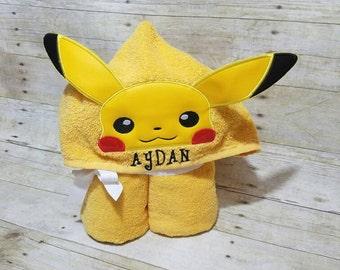 3D Pikachu hooded towel
