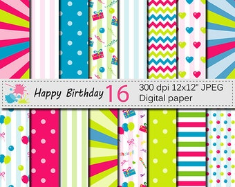 Happy Birthday Digital Paper Set with balloons and presents, Kids Birthday Party Scrapbook papers, Birthday patterns Instant Download