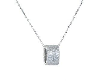 Swarovski Elements White Rondelle necklace in 18k white gold plated