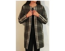 Womens grey tartan plaid wool long jacket coat vintage collarless Chanel style with inset pockets made in UK by designer Laura Ralph