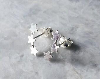Triple star ear studs, Sterling silver triple star ear studs, Star earrings, Funky ear studs, Star ear studs, Silver jewellery (ES41)