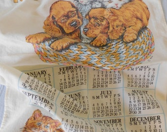 Vintage 1982 Calendar Dish Towel Puppies and Kittens