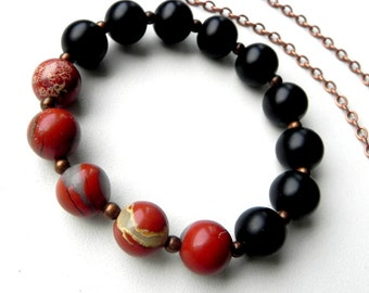 Red Jasper bracelet Blackstone bracelet Genuine stones 12 mm Unique stones Stretch bracelet Copper Protect Power Positive bracelet Eternity