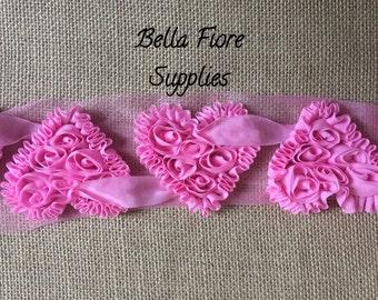 Pink Shabby Chiffon Hearts -Valentines Day Shabby-  Ivory Red Pink White Heart Shabby- 3 inch- Shabby Chiffon Flowers- Wholesale-