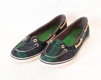 Sperry Top Sider plaid mocs Women's size 6 M- blue and green plaid fabric boat shoe- nautical boat shoe- women's loafer- vintage Sperry's