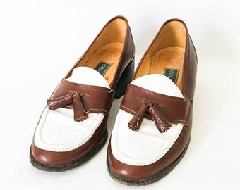 Leather loafers size 7B - Cole Haan shoes - Leather tasseled shoes - Cole Haan size 7 - Two tone leather shoes - Leather loafers - Loafers