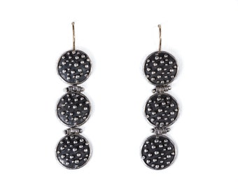 Polka dot earrings - Sterling silver, Oxidized silver