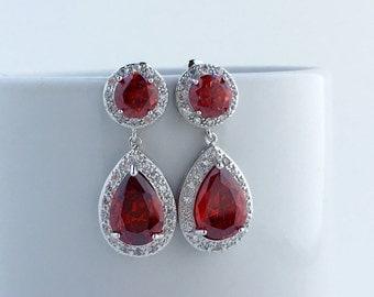 Ruby Wedding Earrings Red Crystal Earrings Red Bridal Zirconia Earrings Red Wedding Jewelry Red Teardrop Earrings Red Bridesmaid Jewelry