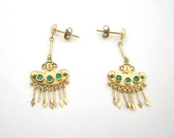 Colombian Emerald Earrings .28 Ct 18K Yellow Gold Pre-Colombian Style Fine Jewelry Muzo Mines