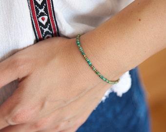 Tiny Boho Bracelet, Bracelet Boho Style, Seed Bead Bracelet, Tiny Turquoise Bracelet, Tiny Beaded bracelet, Bracelet for Her, Gift for Her