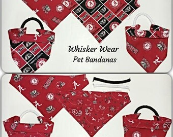Alabama football fabric, reversible custom pet bandana, no tie, dog scarf, dog bandana, pet scarf, bama, college football, pet clothing