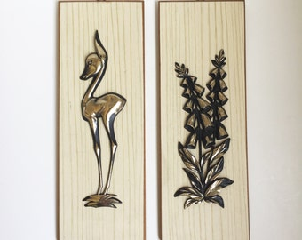 Decorative Wood Panels, Deer and Flower