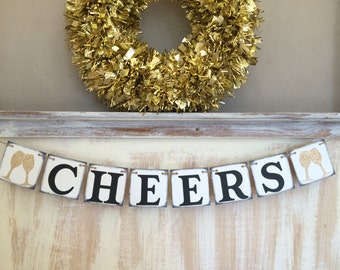 Cheers Banner,Happy New Year Banner,Cheers Garland,Cheers Sign,Cheers 2018,New Years Eve Banner,New Year Decor,New Year Prop,Wedding Banner