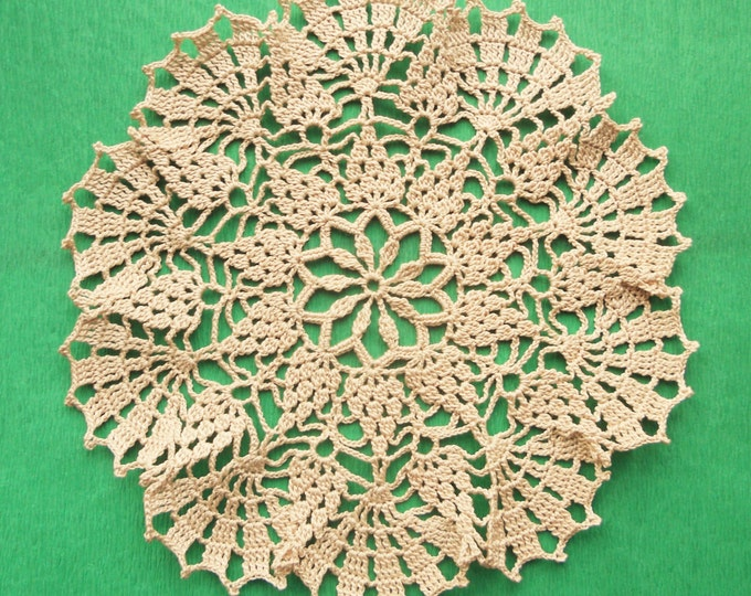9 inch Doily, Ecru Crochet Lace Doily, Rustic Table Decor, Lace Table Centerpiece, Gift for Her, Table Top, Coaster Doily, Rustic Decoration
