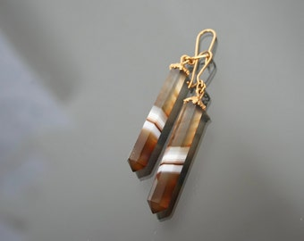 Banded Agate Earrings, Vintage Dangle, Gold 14k Plated.