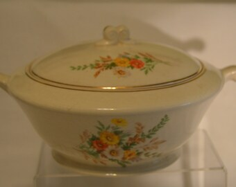 Edwin Knowles China Floral Spray Pattern Covered Casserole Dish Vintage Item #2718  ON SALE NOW!!