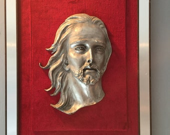 Vintage Framed Picture of Jesus in Pewter and Wood