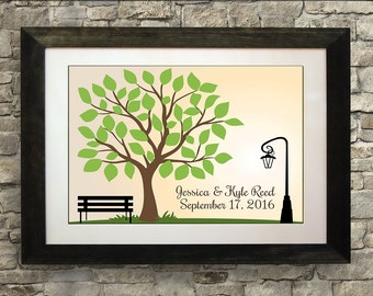 Wedding Guest Book Tree, Wedding Guest Book Poster, Wedding Guest Book Alternative, Guest Book Bench, 24 x 36 inches (175 to 300 guests)