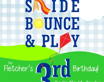 Party at the Park or Playground Birthday Invitation with optional add-ons items available!