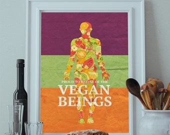 Vegan Poster Kitchen Print Original  Giclee Print on Cotton Canvas and Paper Canvas Home Kitchen Decor