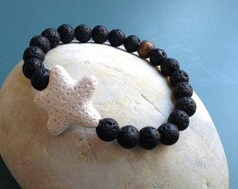 Star LavaStar black lava bracelet