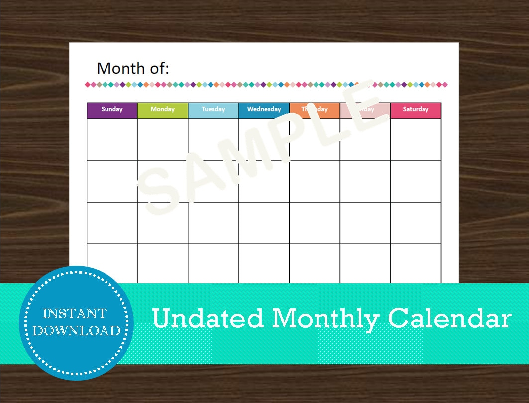 Undated Weekly Calendar : Undated monthly calendar landscape printable and