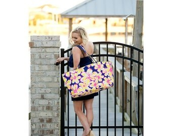 Huge Beach Bag/ Flower Beach Bag/ Ultimate Beach Bag/FREE MONOGRAM