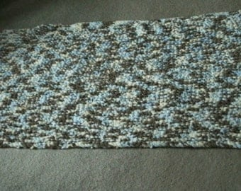 Crib Blanket made with Bernat Yarn #04128 Littles Cosmos/Brown/Tan/Blue 26 X 63 Inches