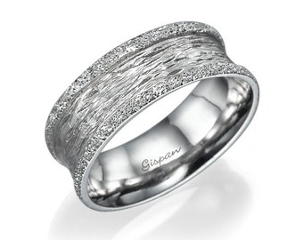 White Gold Wedding Ring Unique Band Glitter Bridal