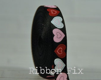 "2 yards 3/8"" Black Patchwork Heart Print Grosgrain Ribbon - Valentine's Day - Wedding - Lace - Love - Home Decor - Dog Collar Leash - Red"