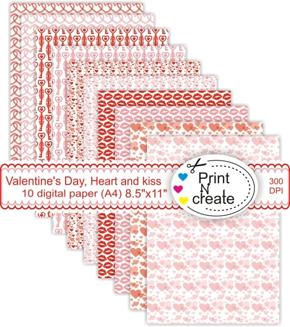Digital paper a4, Valentine's Day, paper pad A4, heart and ...
