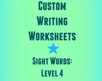 First and Second Grade Custom Handwriting Worksheets / Lined Practice Paper / Spelling Practice / Sight Words Practice/Printable Workbook