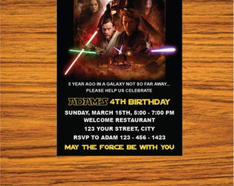 Star Wars Invitation - Star Wars Party Invitation - Star Wars Birthday Party Invite - Star Wars Party Printable - FREE card THANK YOU |  M06