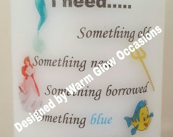 Disney Little Mermaid Ariel themed 8cm Will You Be My Bridesmaid or Maid of Honour candle gift