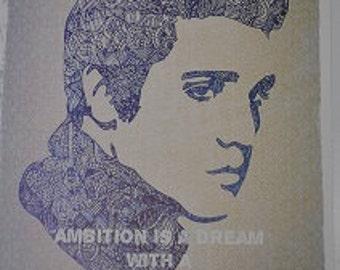 Elvis Presley Zentangle Inspirational Colour Quote A4 Art Print