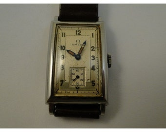 Rare orginal dial omega mens art deco steel mens watch serviced orginal dial really nice