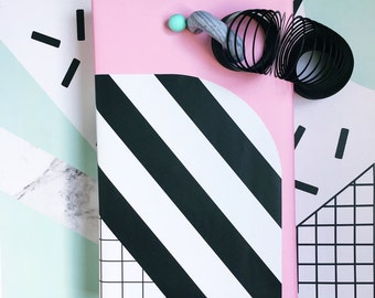 Pink Grid Black Stripe Gift Wrap - Memphis windowpane wrapping paper - modern   crafting paper scrapbooking - sheets rolls Birthday backdrop