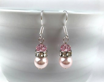 Handmade Swarovski Pearl Earrings Rose /  Bridesmaids Pearl Earrings / Wedding Earrings