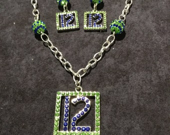Seattle Seahawks 12 Bling Necklace and Earrings