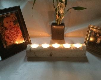 "Set of 9 Birch bark logs 12"" long with 5 tea light Candle Holder, Weddings,Decoration"