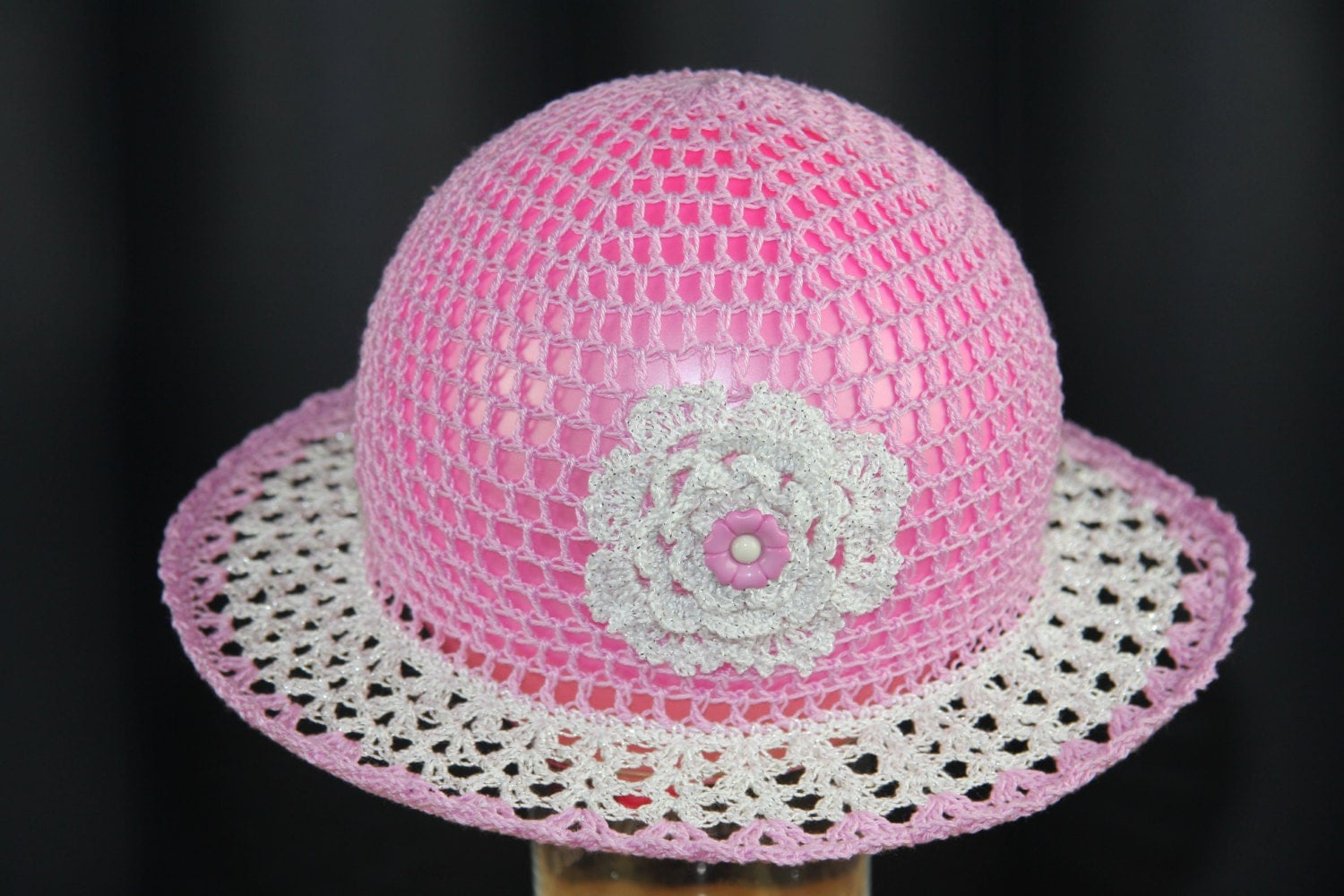 Crochet hat for kids Sun hats for babies with flower Handmade