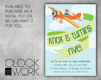 Kids Invitations, Birthday, Party, Printed or Digital File Available, High Flyer