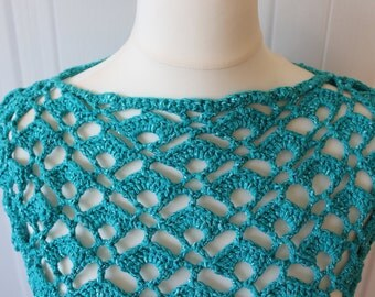 Turquoise top, turquoise crochet top, crochet top